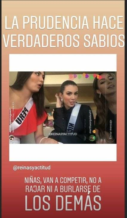 """Cuenta de Instagram critica duramente a Virginia Limongi en el Miss Universo 2018 Captura de pantalla """"Reinas y actitud"""""""