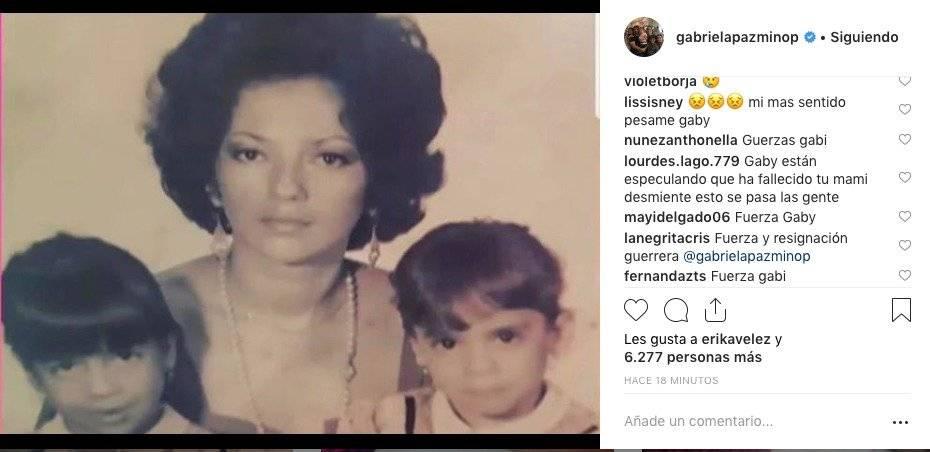 Gabriela Pazmiño publicó foto de su madre y seguidores expresan sus condolencias Captura de pantalla