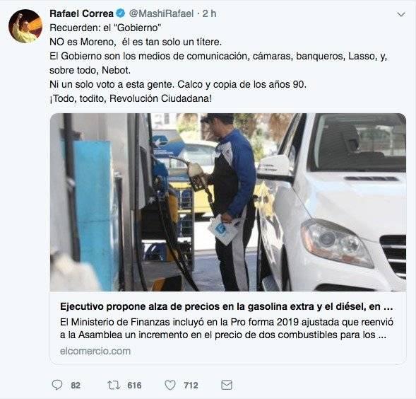 Tuit de Rafael Correa Twitter