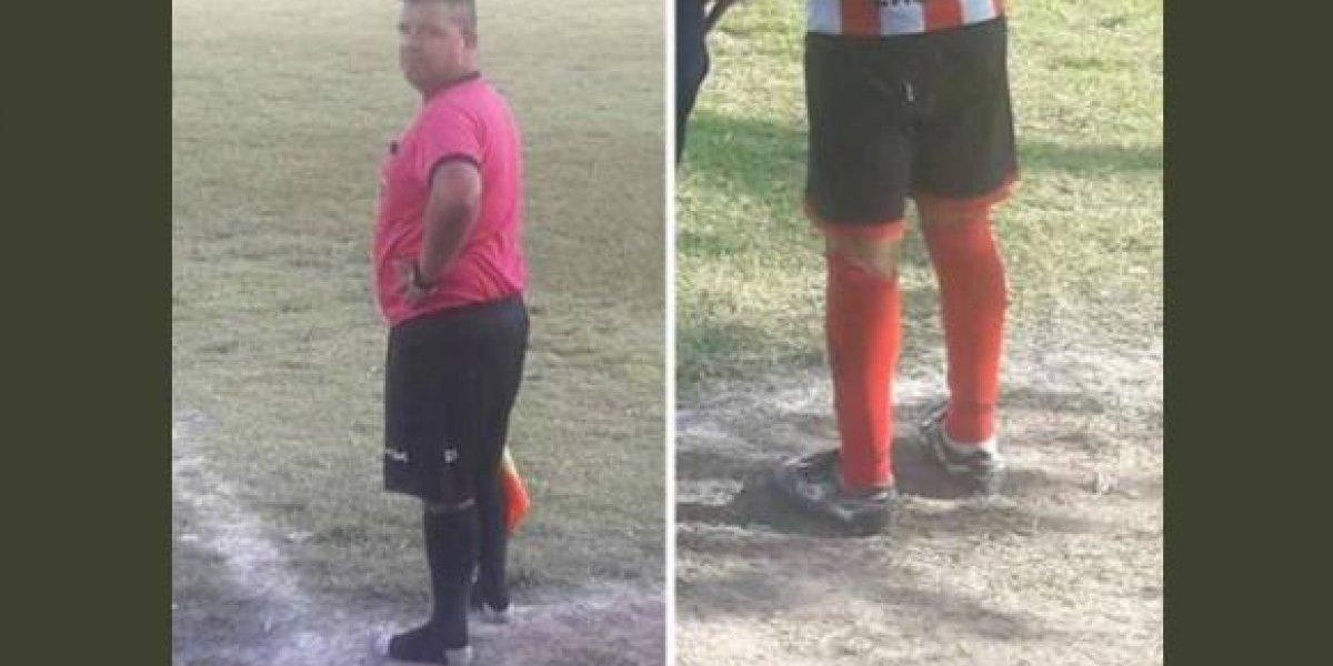 Fue la figura del partido: juez de línea le prestó sus zapatos de fútbol a un niño de 13 años que estaba en la banca para que pudiera jugar