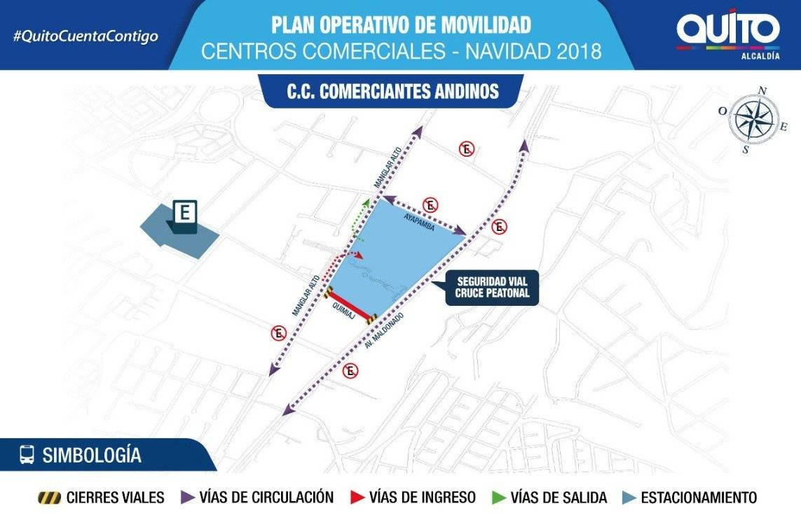 Plan de movilidad en centros comerciales de Quito