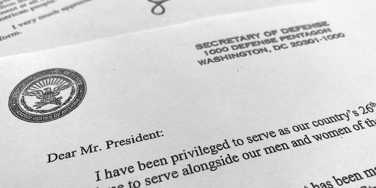 Secretario de Defensa renuncia por diferencias con Trump