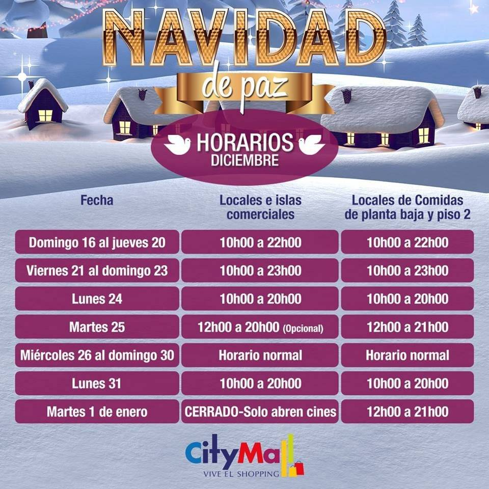 Horarios de Atención Navidad, Citymall Guayaquil