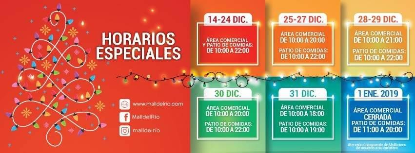Horarios de Atención Navidad, Centro Comercial Mall del Río Cuenca