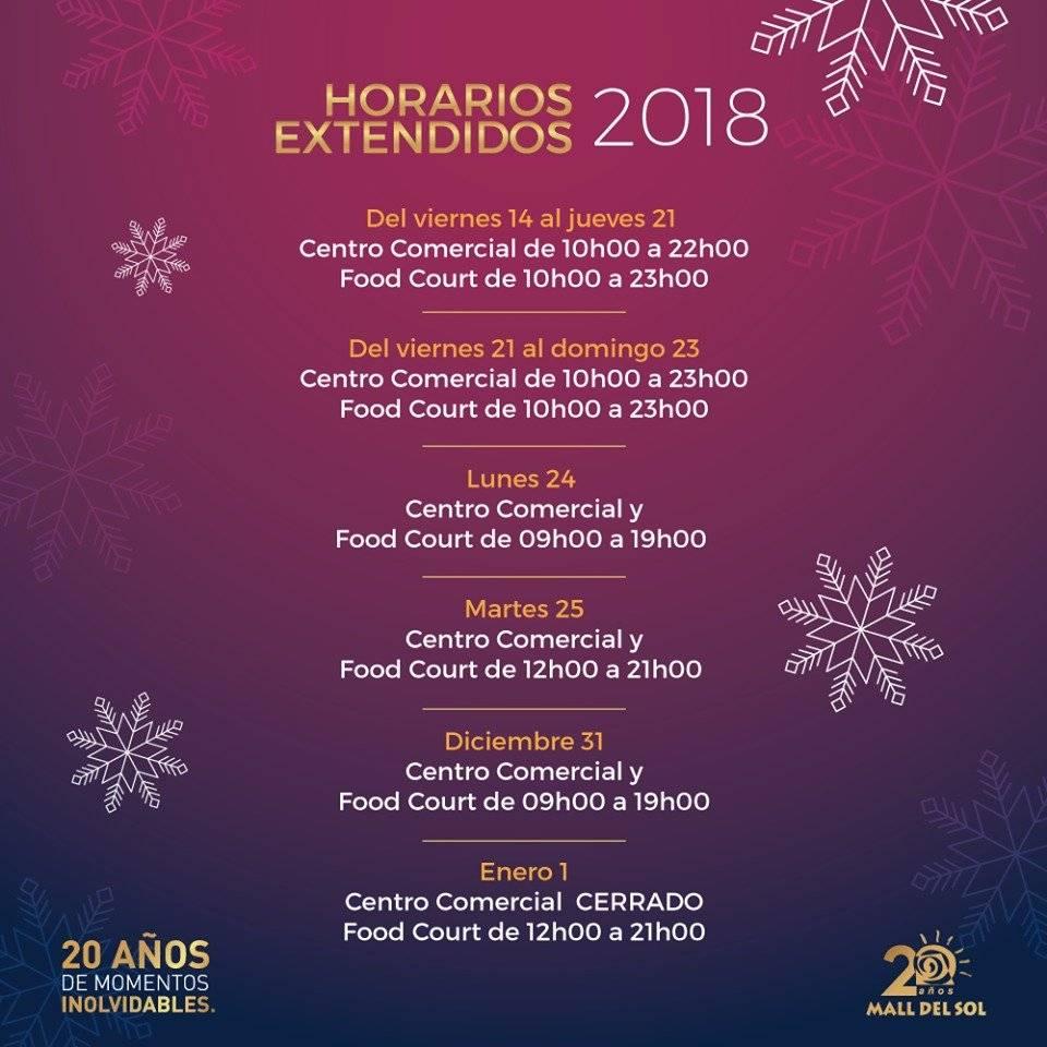 Horarios de Atención Navidad, Mall del Sol Guayaquil