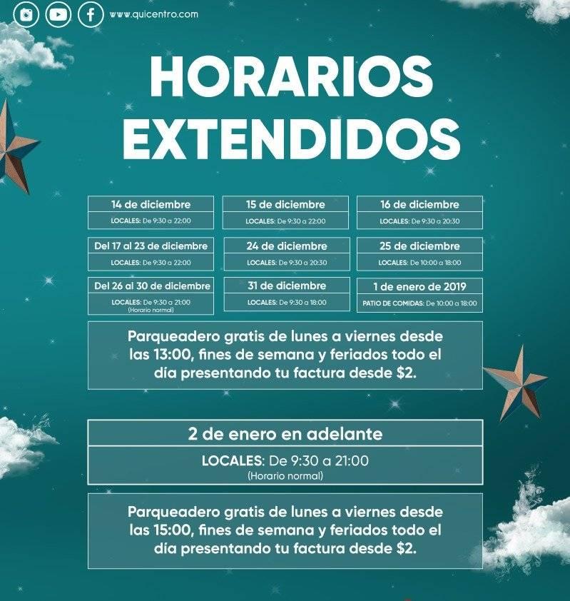 Horarios de atención Quicentro Shopping