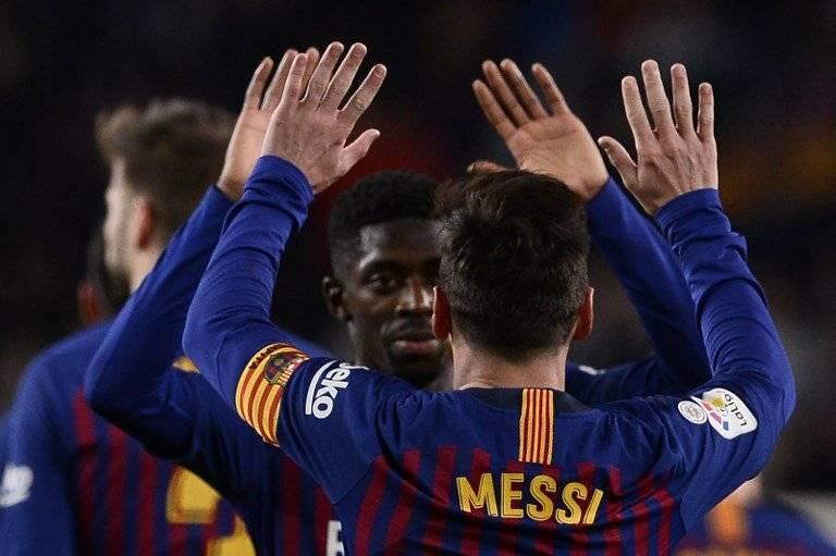 Ousmane Dembélé colocó el primer tanto del Barcelona ante el Celta. AFP