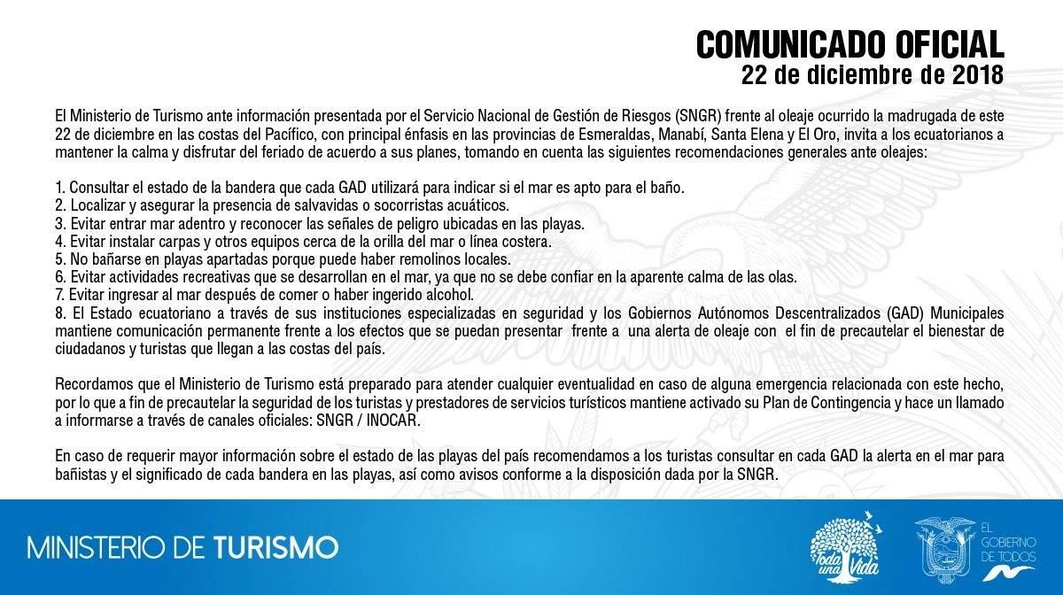 Ministerio de Turismo realiza recomendaciones tras oleaje ocurrido en las costas ecuatorianas
