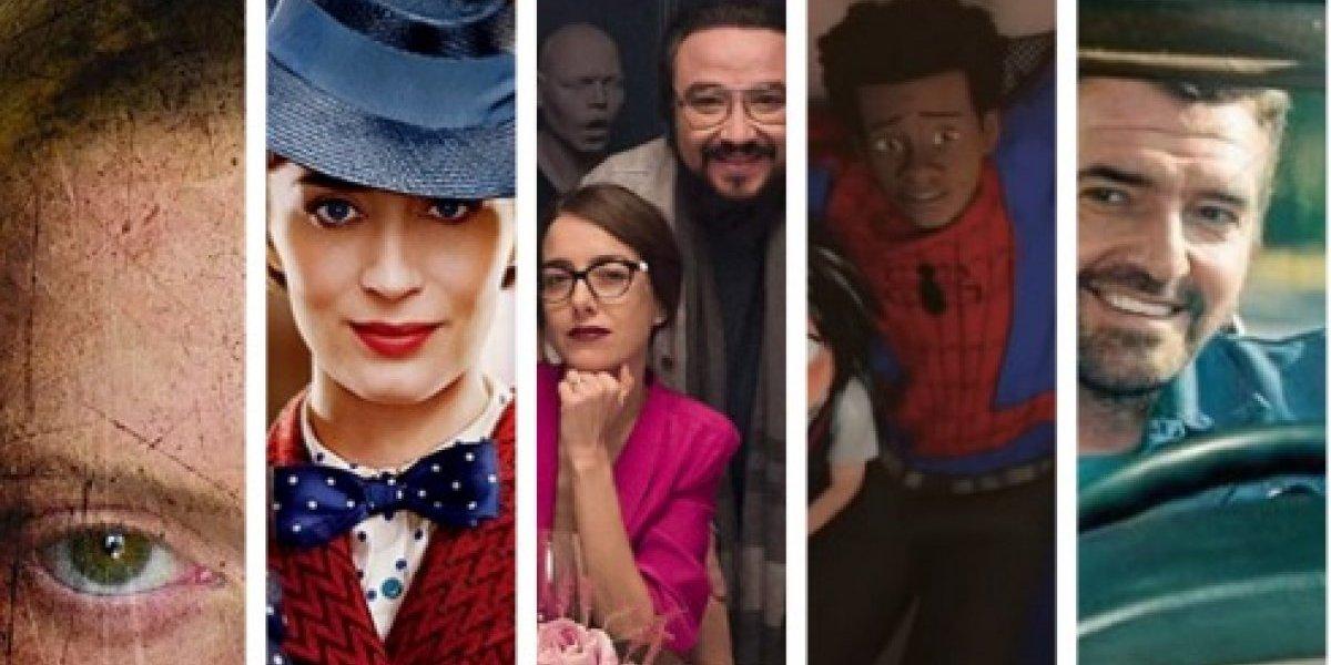 Cartelera con los estrenos de películas en Navidad