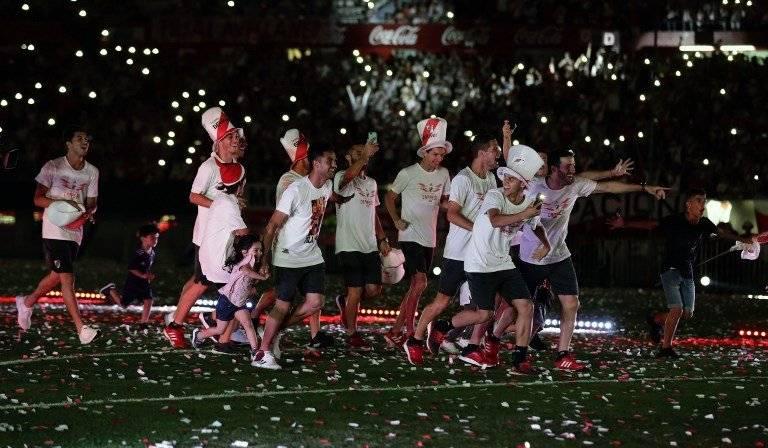 River Plate por fin pudo celebrar con su afición. AFP