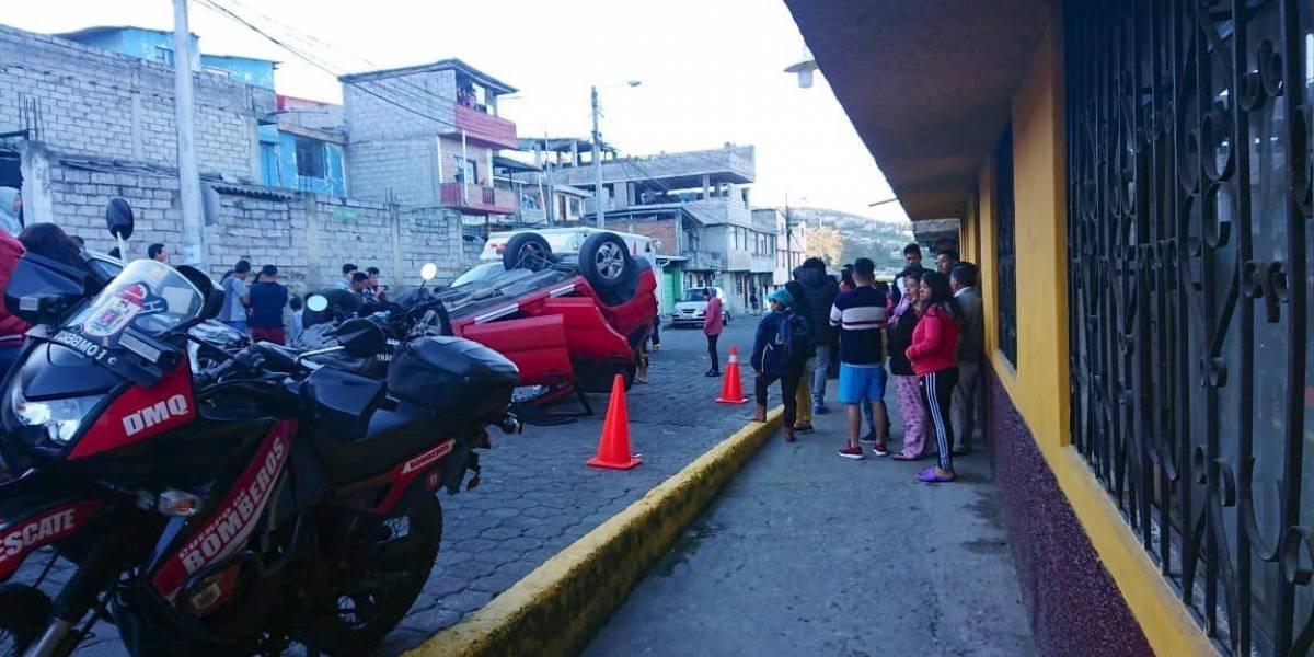 Quito: Dos heridos tras accidente de tránsito en Chiriyacu