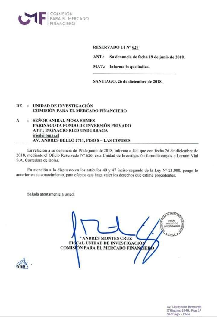 La resolución de la CMF ante la denuncia de Aníbal Mosa / Foto: CMF