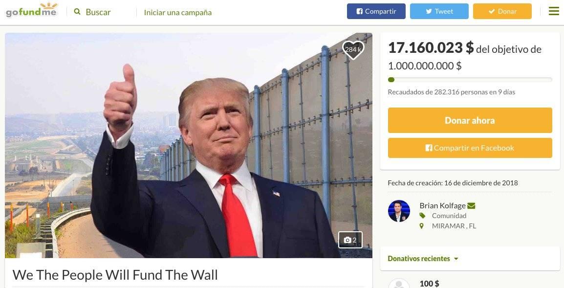 campaña dinero muro Trump