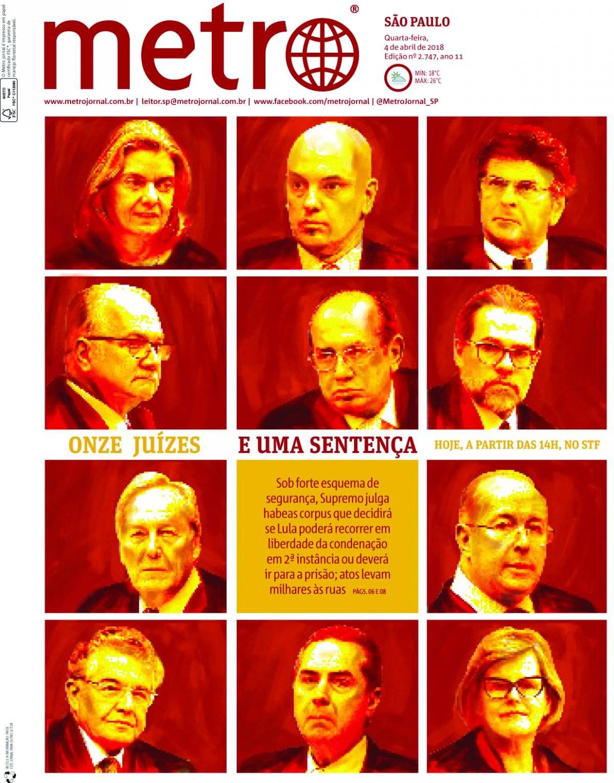 4 de abril. Em julgamento histórico, o STF decidiu pela prisão de Lula; ele só se entregaria no dia 7 de abril, passando a cumprir pena na sede da Polícia Federal em Curitiba