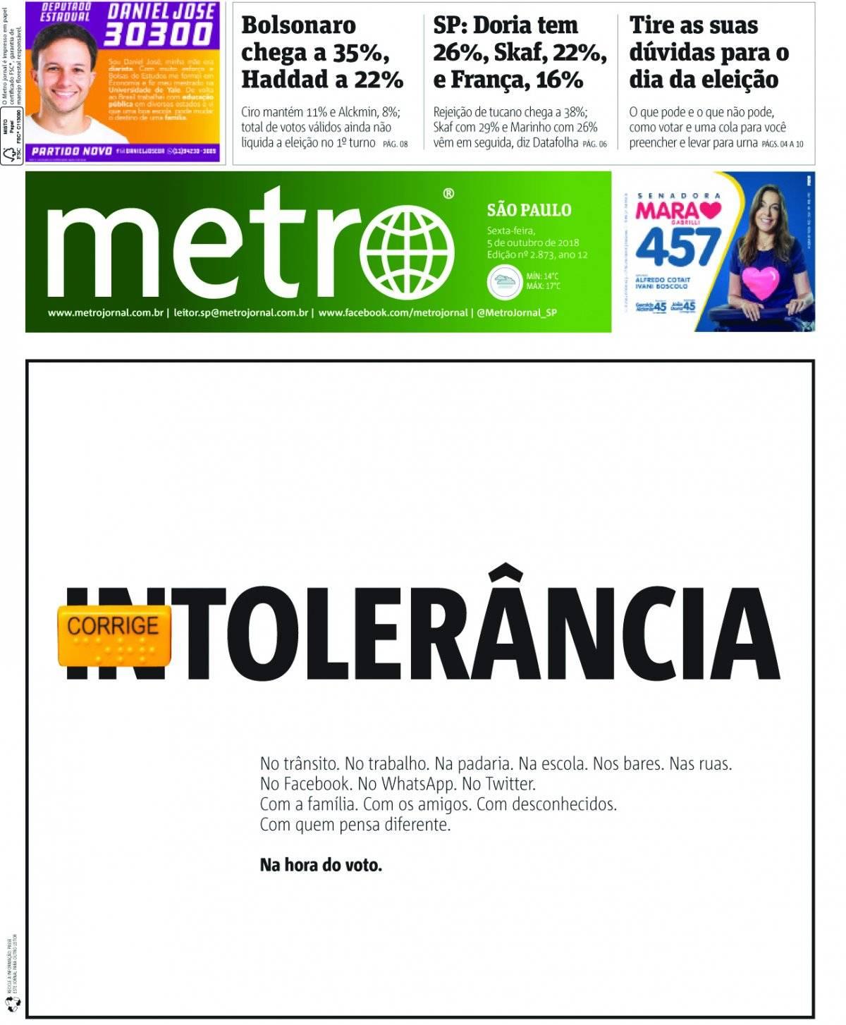 5 de outubro. A eleição que culminou com a vitória de Jair Bolsonaro dominou o noticiário no segundo semestre
