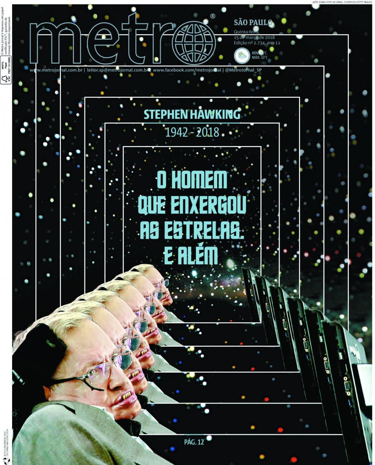 15 de março. O físico Stephen Hawking também foi homenageado por uma capa especialmente sci-fi