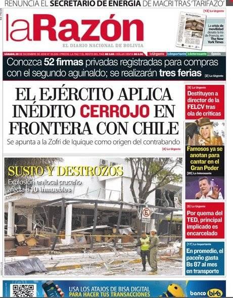 Portada del diario La Razón de este sábado