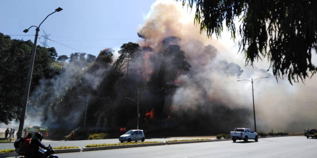 Se registra incendio forestal en ruta al Pacífico, hacia la Ciudad