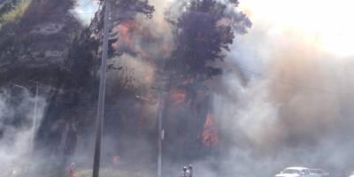 Incendio forestal km 14.5 ruta al Pacífico
