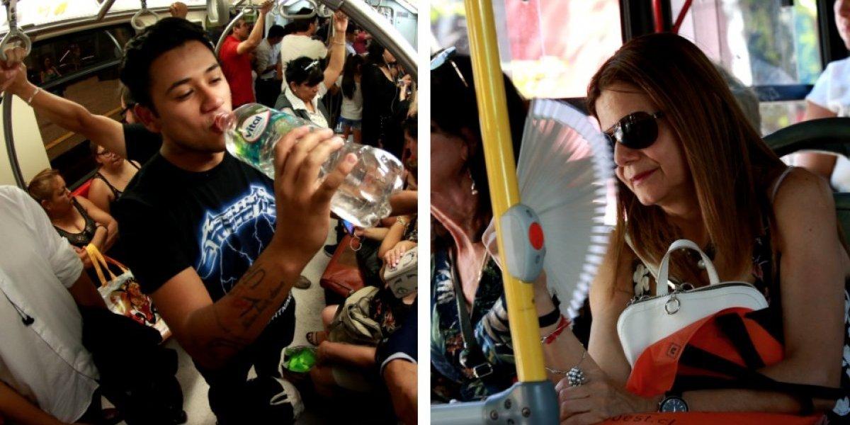 ¡Estamos fritos! Hasta 38º deben soportar pasajeros del transporte público en Santiago