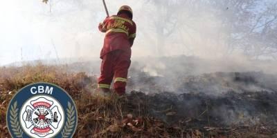 incendio forestal en Km. 14.5 ruta al Atlántico