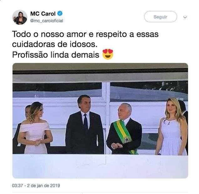 Mc Carol Temer e Bolsonaro