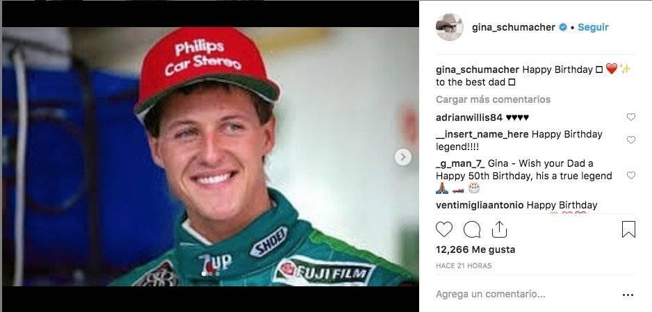 Mensaje de la hija de Schumacher Instagram