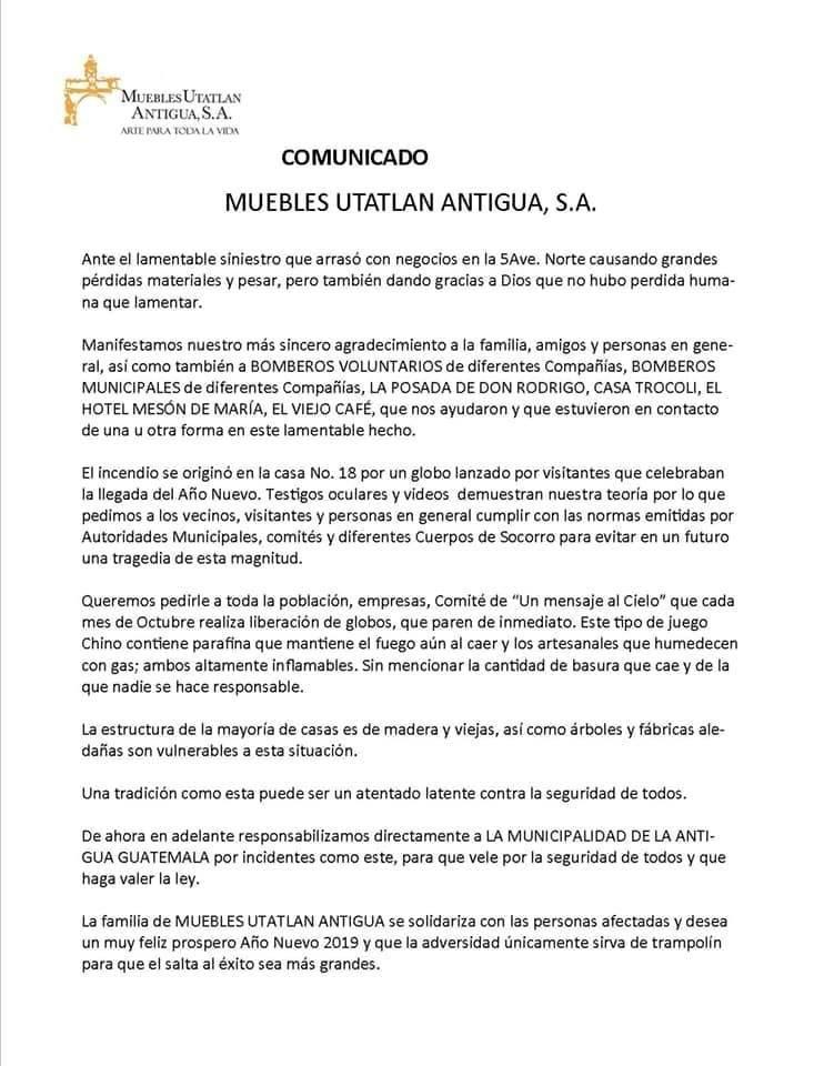 Comunicado de Muebles Utatlán Antigua