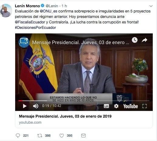 Lenín Moreno denunciará irregularidades de proyectos petroleros del régimen anterior