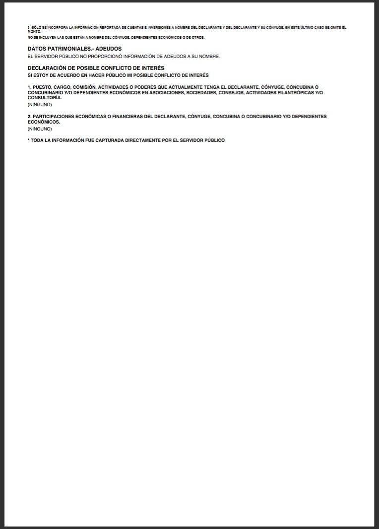 Declaración Patrimonial de Andrés Manuel López Obrador, página 1