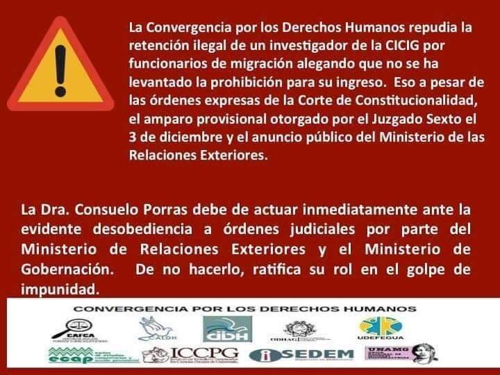 Comunicado de Convergencia de Derechos Humanos