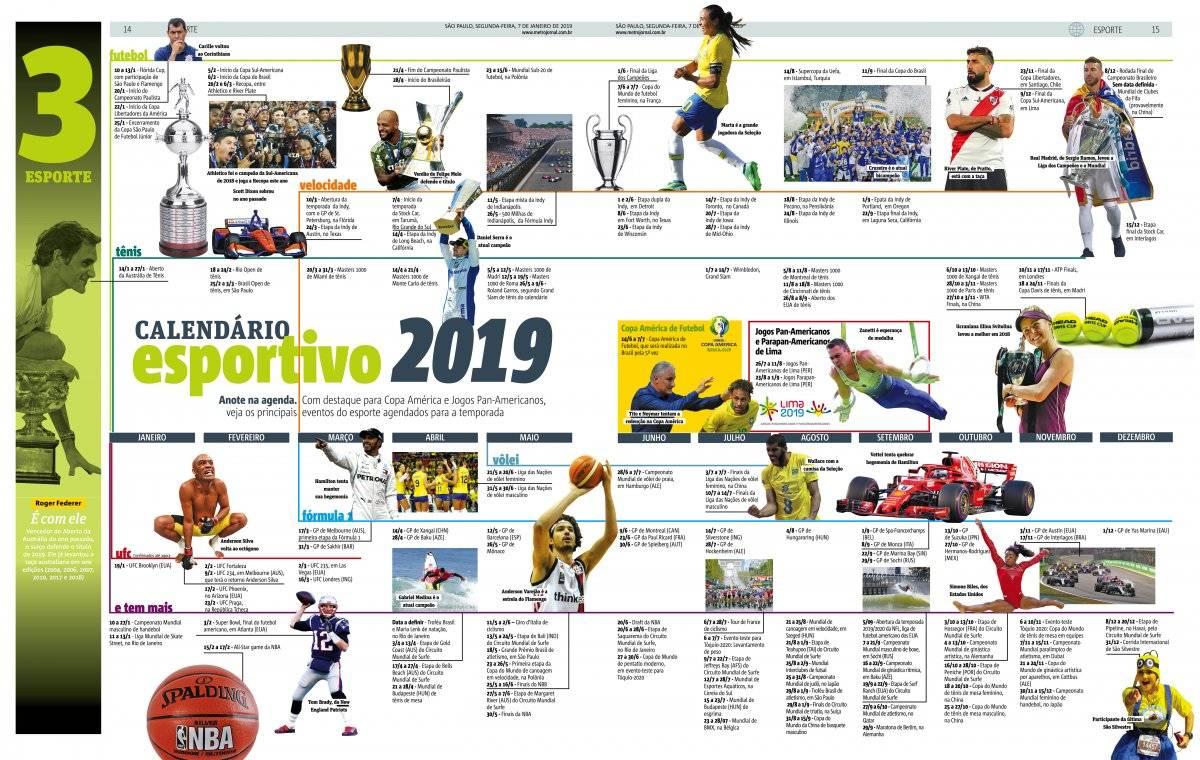 página calendário esportivo