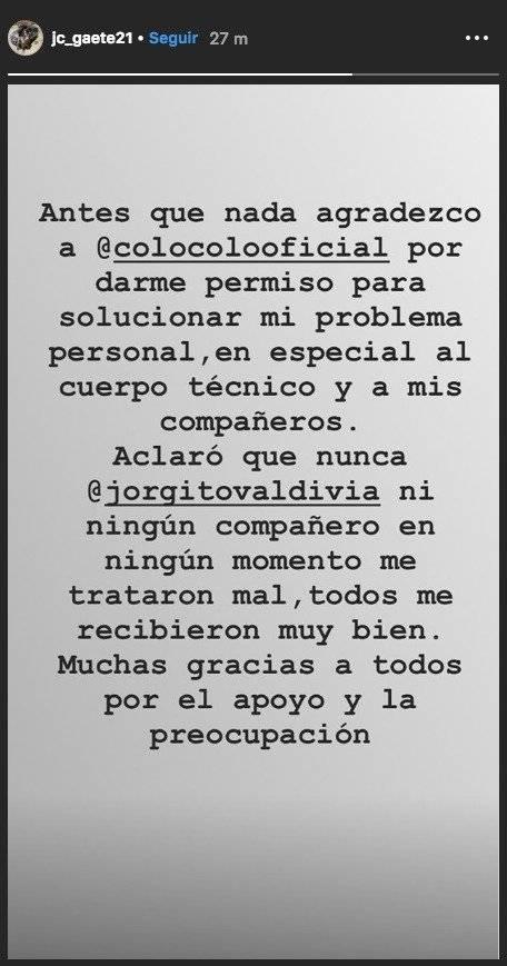 El mensaje de Gaete / imagen: Instagram Juan Carlos Gaete