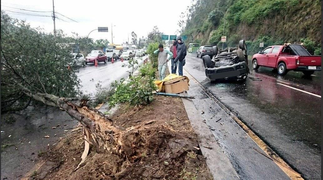 Fuerte choque de un vehículo contra un árbol en la Simón Bolívar AMT
