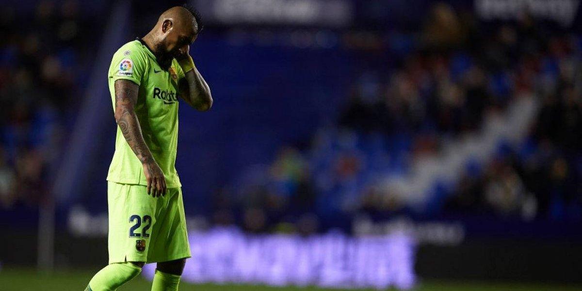 Arturo Vidal luchó como siempre pero sufrió con la sorpresiva derrota de Barcelona en la Copa del Rey