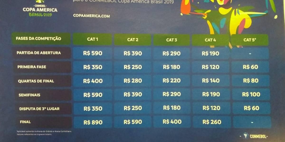 Copa América: Final e jogos do Brasil tem ingressos do primeiro lote esgotados
