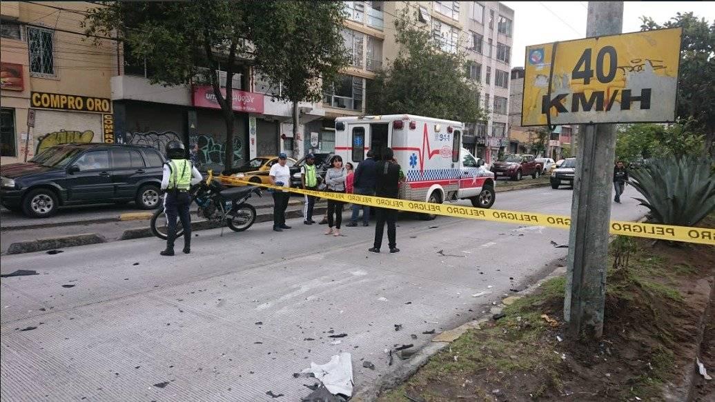 Accidente de tránsito en la Av 10 de Agosto y Veintimilla
