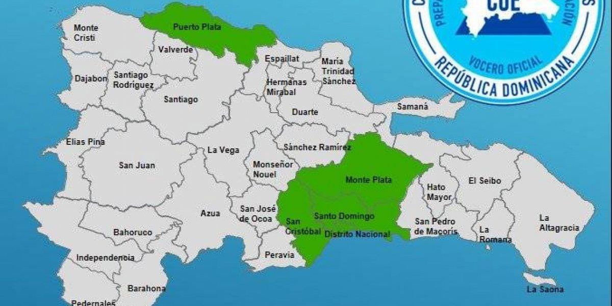 COE emite alerta verde a cuatro provincias y el Distrito Nacional