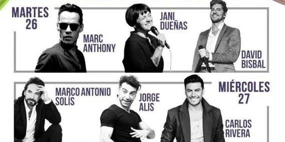 """Marc Anthony, Marco Antonio Solís, Bad Bunny y Becky G al """"Festival de Viña 2019"""""""
