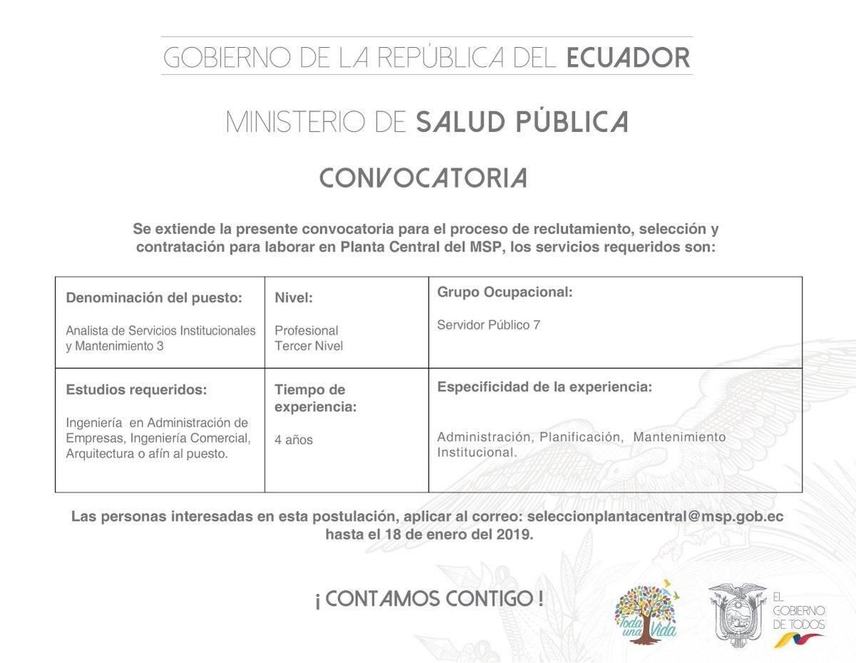 Convocatoria para postular a vacantes en el Ministerio de Salud