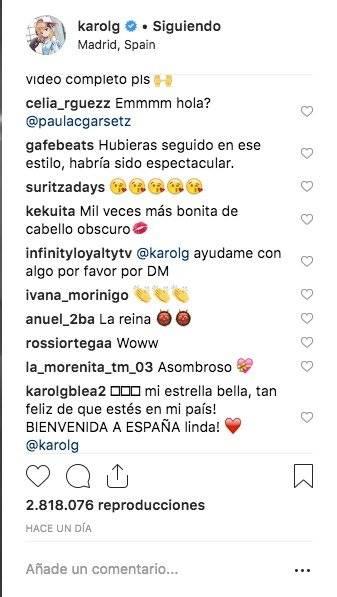 Comentarios en el Instagram de Karol G Instagram
