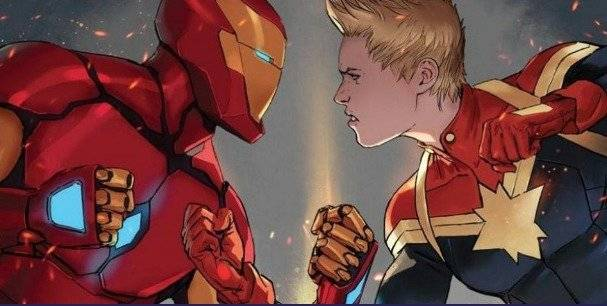Capitana Marvel y Iron Man