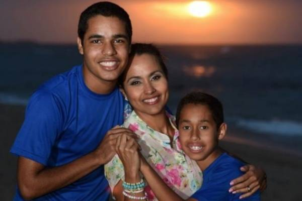 Keylla Hernández y sus hijos