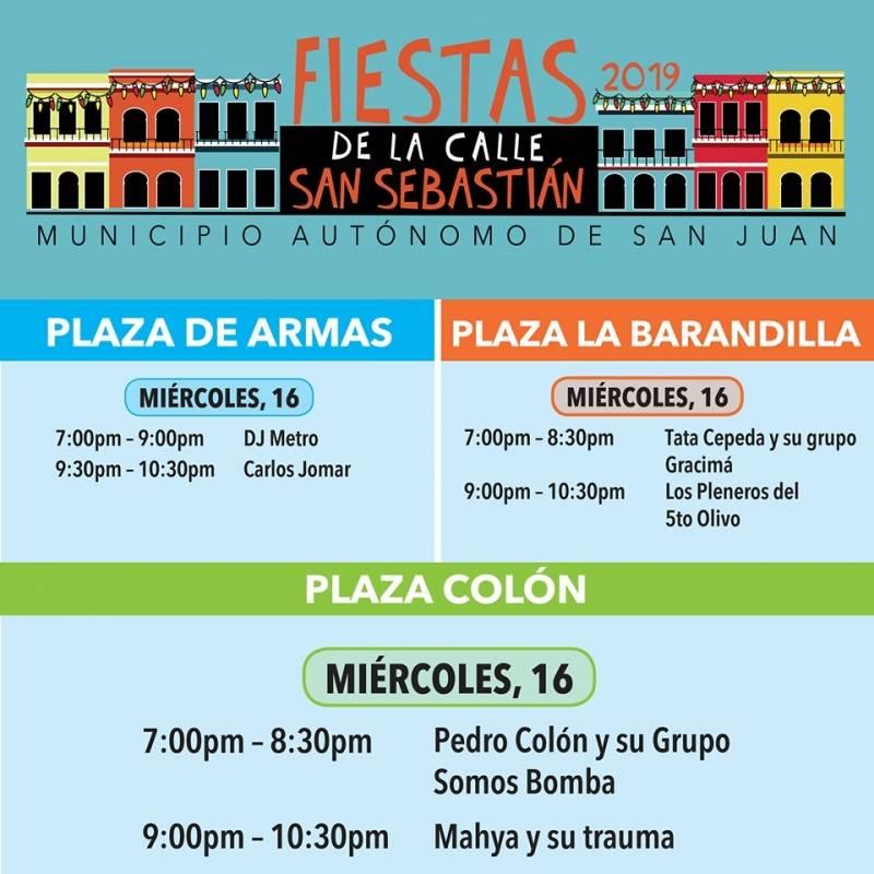 Calendario de la Fiesta de la Calle San Sebastián. Suministrada