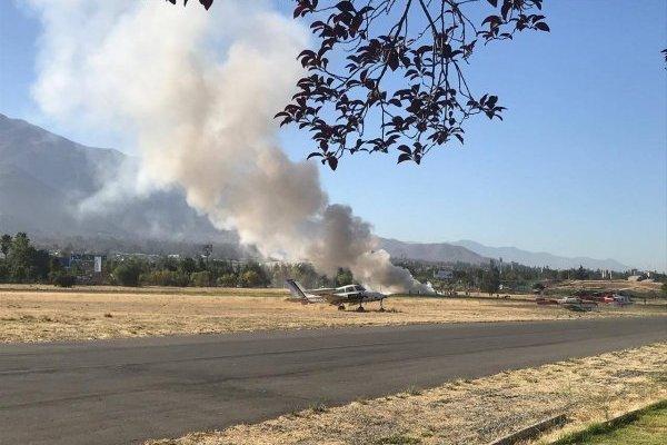 Accidente aéreo en Tobalaba: avioneta capotó y dejó a dos lesionados