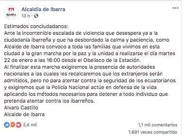 Ciudadanía de Ibarra se auto convoca para una marcha por el femicidio de Diana Carolina