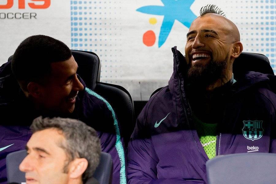 Arturo Vidal vio desde el banco el triunfo 3-1 de Barcelona sobre Leganés / Foto: Photosport
