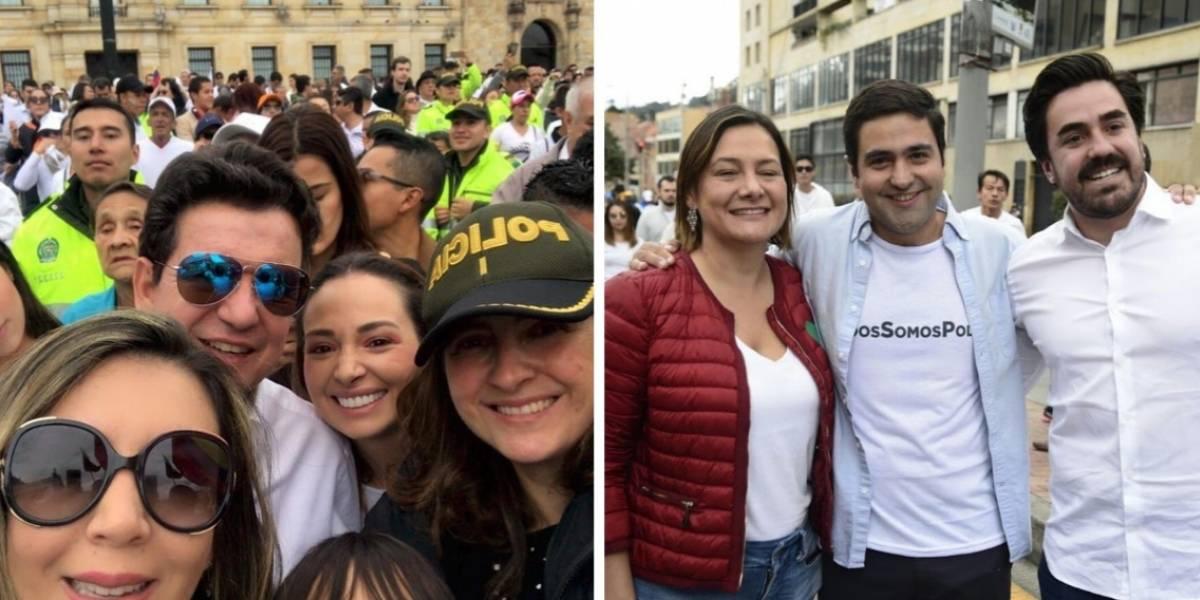 Indignación con políticos del CeDemocrático que posaron sonrientes en fotos en plena marcha