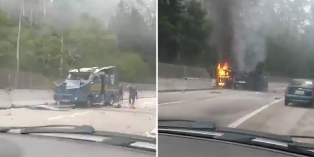 Criminosos explodem três carros-fortes na rodovia dos Tamoios