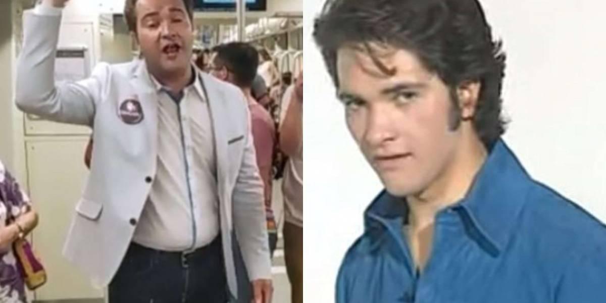 Un alcalde emocionado: René de la Vega se convirtió en el primer cantante en subir a la Línea 3 del Metro